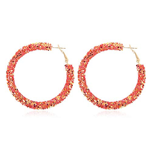 - RIAH FASHION Glitter Rhinestone Statement Drop Earrings - Sparkly Crystal Geometric Metal Hook Dangles Vertical Bar, Elongated Teardrop, Shield Disc (Sequin Glitter Hoop - Red)
