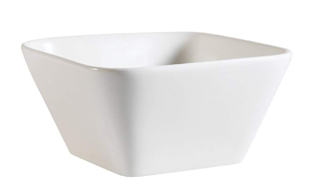 CAC China PLT-B5 Accessories 5-Inch by 2-1/2-Inch 12-Ounce New Bone White Porcelain Square Bowl, Box of 36