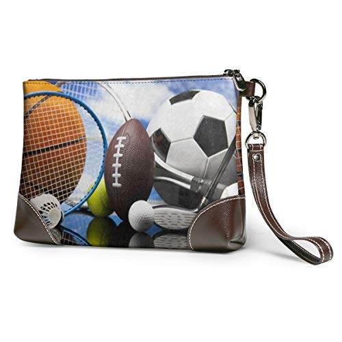 Women's Leather Zipper Wristlet Football Soccer Baseball Basketball Cellphone Card Wallets Clutch Holder Purse