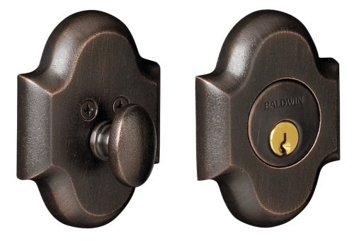 (Baldwin Estate 8252.402 Low Profile Arched Single Cylinder Deadbolt in Distressed Oil Rubbed Bronze)
