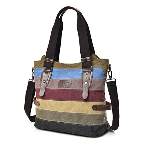 Womens Handbags, COOFIT Canvas Handbags Striped Tote Crossbody Bags for Women