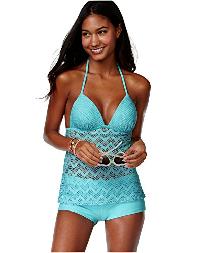 Beach Diva Hula Honey Crochet Cutout Push-Up Tankini Top (Crochet Tankini)