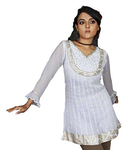jayayamalaTunique blanche à manches longues avec blouse robe occasionnelle