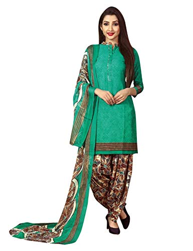 Ladyline Ready to wear French Crepe Printed Salwar Kameez Suit Indian Pakistani Dress (Size_38/ Green)