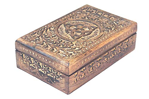Etroves Wooden Hand Carved Triquetra Jewelry Keepsake Wooden Gift Box - Floral Net Design ()