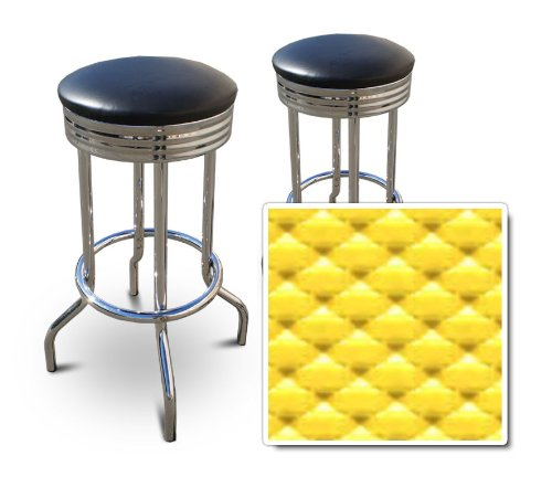 2 YellowVinyl Custom Specialty Swivel Chrome 24''Bar Stools (Wave Solar Flare) by The Furniture Cove