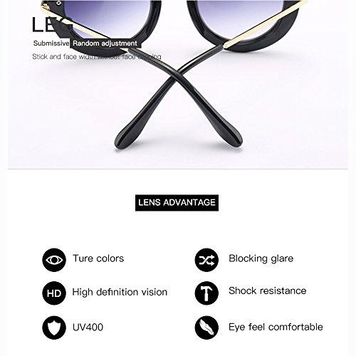 De Black Euramerican De Gafas Sol Grande Tendencia Marco De Blue Sol Gafas De Redondas t7ZFq