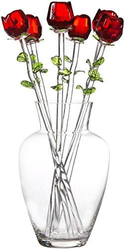 Palais Glassware Clear Glass 'Fleurs' Vase With Six Glass Roses (Fleur De Rose)
