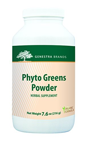 Genestra Brands - Phyto Greens Powder - Organic Herbal Supplement with Vitamins, Dietary Fiber and Enzymes for Optimum Nutrition* - 7.6 oz (216 g) by Genestra Brands