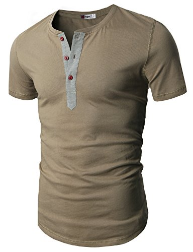 H2H Mens Sophisticated design Short Sleeve Cotton Henley T-shirts KHAKI US 3XL/Asia 4XL (D15S_KMT05S)