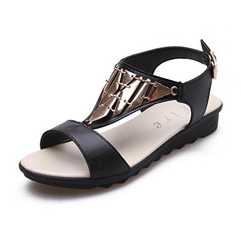 ZPPZZP Ms sandali pantofole flat-bed piana e selvaggio indossando 39EU nero