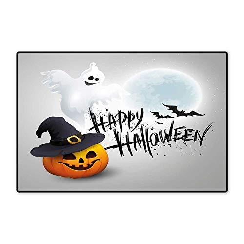 Halloween Door Mats for Inside Happy Celebration Typography Stained Look Cute Ghost Pumpkin Hat Print Floor mat Bath Mat 20