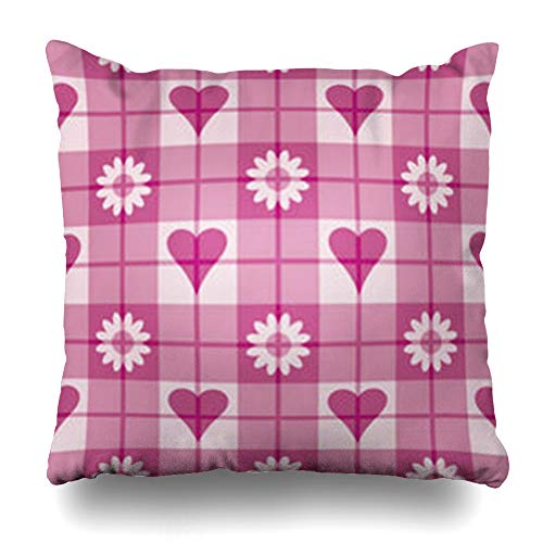 Alfredon Throw Pillow Covers Pink Magenta 12 Plaid Pattern Quot Hearts Flowers Quilt Checkerboard Checkered Checks Pillowcase Square Size 20 x 20 Inches Home Decor Cushion Cases ()