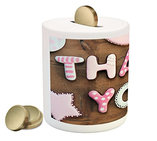 Ambesonne Thank You Piggy Bank, Romantic Sweet Cookie Letter