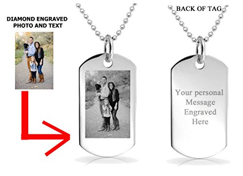 PERSONALIZED CUSTOM PHOTO DOG TAG ENGRAVED JEWELRY NECKLACE PENDANT CHAIN GIFT from Unknown