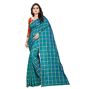 Aaradhya Fashion Women's Cotton Blend Saree With Blouse Piece