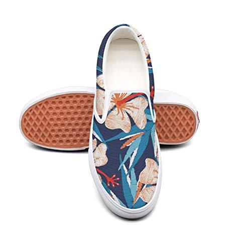 RegiDreae Canvas Slip on Sneakers for Women Blue Tropical Floral Hawaiian Hibiscus Fashion Sneaker