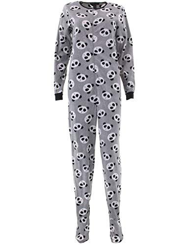 Womens Footed Pajamas - Rene Rofe Pillow Talk Women's Fleece Footed Pajama, Grey/Pandas, Large