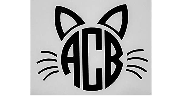 Cat Face Initial Monogram Cups Laptops COLORS Car Window Vinyl Decal Sticker v2
