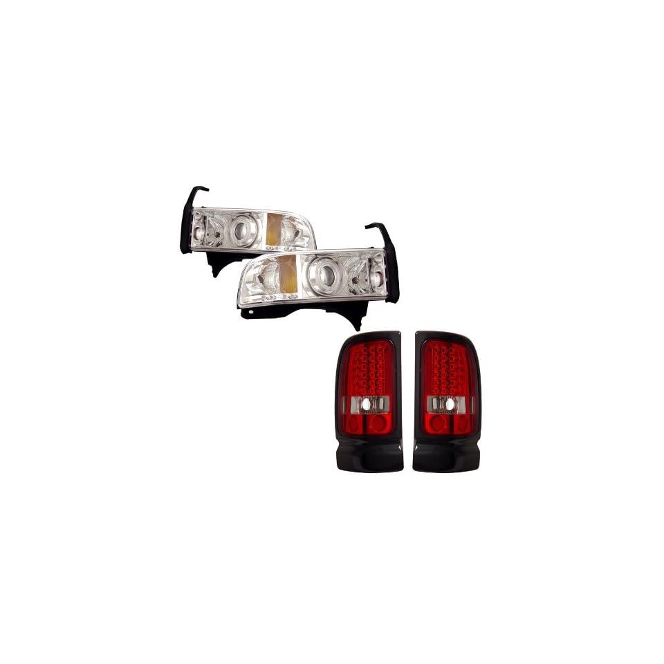 94 01 Dodge Ram Chrome CCFL Halo Projector Headlights + LED Tail Lights Combo