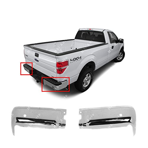 (MBI AUTO - Chrome, Steel Pair of Left & Right Rear Bumper End Caps for 2009-2014 Ford F150 Pickup w/Park Assist 09-14, FO1102372)