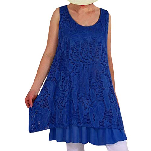 Sunhusing Women's Solid Color Sleeveless Round Neck Openwork Flower Lace Stitching Club Party Mini Dress Navy