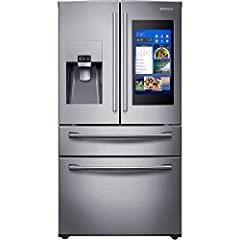 28 Cu. Ft. Capacity Family Hub Bixby Voice for Hands-Free Control FlexZone Drawer Adjustable Shelves Ice Master Twin Cooling Plus Wi-Fi Connectivity High Efficiency LED Lighting ENERGY STAR Fingerprint Resistant Stainless Steel Finish