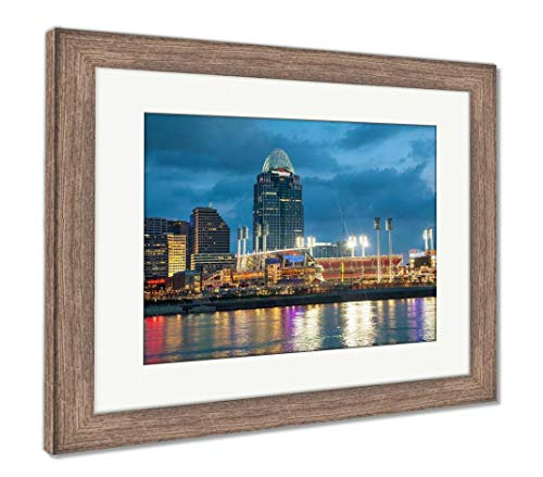 Ashley Framed Prints Great American Ball Park Stadium, Wall Art Home Decoration, Color, 30x35 (Frame Size), Rustic Barn Wood Frame, AG6115024