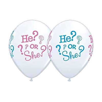 He or She Gender Reveal Baby Shower 11 Inch Qualatex Latex Balloons (10 Pack): Kitchen & Dining