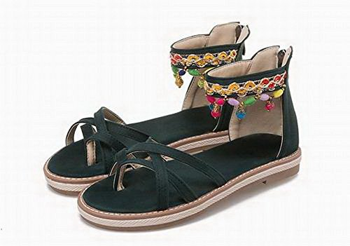 Assorted Zipper WeenFashion Heels Color Low Black Women's Blend Materials Sandals 4qvPA