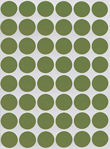 17 Mm Olive - Royal Green Color Sticker Dots 5/8 Diameter (11/16) Round Stickers - 0.69-17mm Olive - 336 Pack