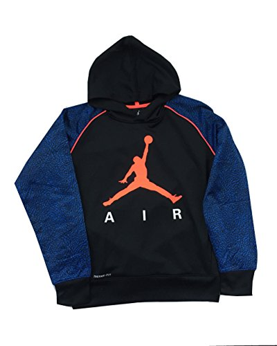- Jordan Nike Jumpman Big Boys' Elephant Print Therma-Fit Pullover Hoodie (Small /8-10 Yrs, Blue/Black/Orange)