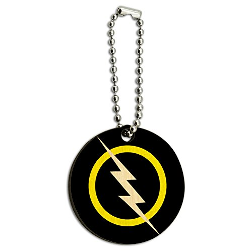 Graphics and More White Lightning Bolt Wood Wooden Round Key Chain