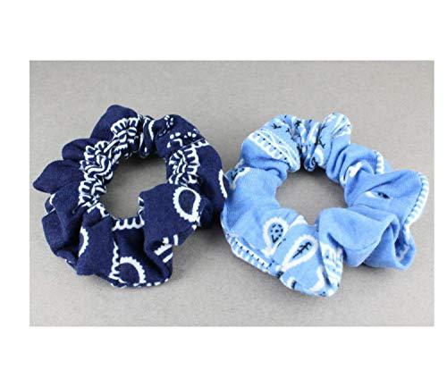 Blue White bandana print jersey fabric ponytail holder scrunchies set of 2 hair scrunchys ()