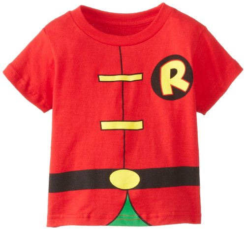 Dc Comic Costumes (DC Comics Toddler costume Robin Caped T-Shirt, Red, 3T)
