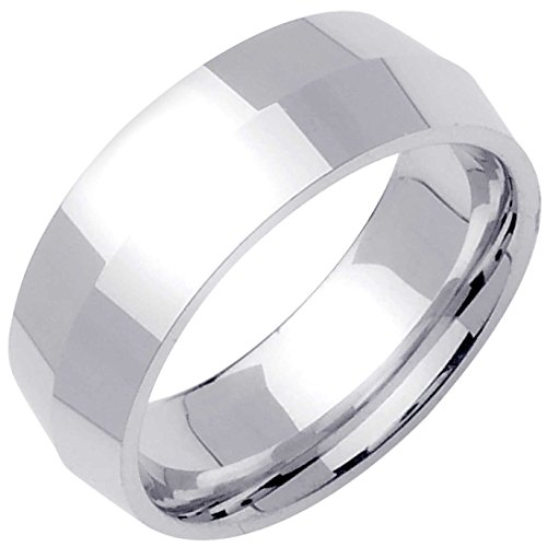 18K White Gold Traditional Knife Edge Men's Comfort Fit Wedding Band (8mm) Size-15.5c1
