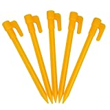 Buorsa 12Pcs Durable Plastic ​Tent Pegs Stakes For Travel,Hiking,Camping,Festival,Outdoor Activities,Yellow