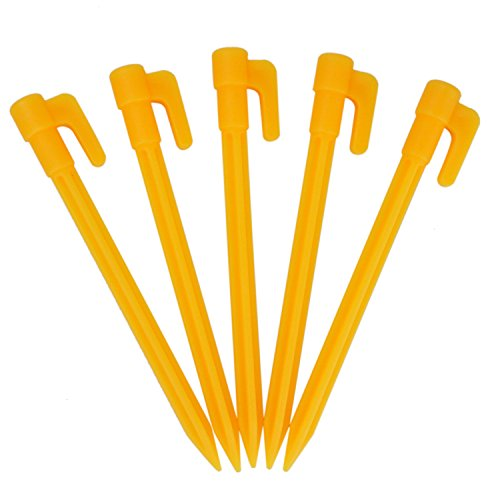 Buorsa 12Pcs Durable Plastic Tent Pegs Stakes For Travel,Hiking,Camping,Festival,Outdoor Activities,Yellow by Buorsa