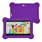 Jinjin Kids Tablet PC, 7 Android 4.4 Case Bundle Dual Camera 1.2Ghz Wi-Fi Bonus Items with Silicone Gel Case Cover, 7 TFT LCD Display, Bluetooth for Children's Best Gift (Purple)