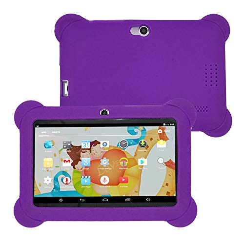 Jinjin Kids Tablet PC, 7 Android 4.4 Case Bundle Dual Camera 1.2Ghz Wi-Fi Bonus Items with Silicone Gel Case Cover, 7 TFT LCD Display, Bluetooth for Children's Best Gift (Purple) by Jinjin