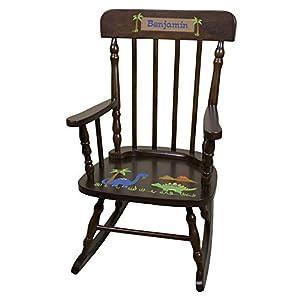 Personalized Espresso Dinosaur Rocking Chair