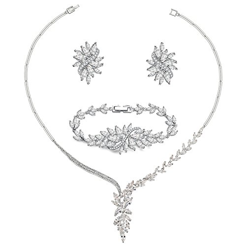 UMODE Bridal Wedding Jewelry Set 18K White Gold Plated Brass Marquise Cut Cubic Zirconia Necklace Earring and Bracelet for Women-17.5in Necklace, 7in Bracelet ()