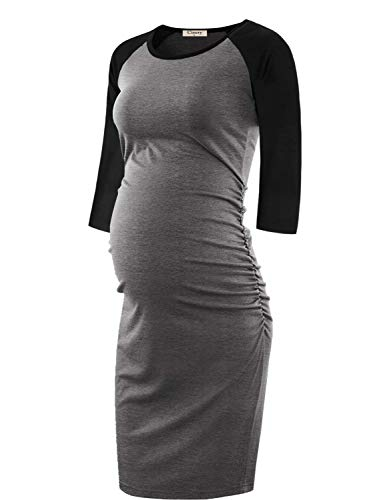 Pregnancy Outfit - Cinery Women's 3 4 Sleeve Maternity Dresses Knitted Casual Pregnancy Clothes Bodycon Baby Shower Dress Mama Pregnancy Clothes (Black Grey M)