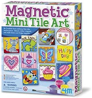 4M 4563 Magnetic Mini Tile Art – DIY Paint Arts & Crafts Magnet Kit for Kids – Fridge, Locker, Party Favors, Craft Project Gifts for Boys & Girls