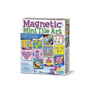 4M 4563 Magnetic Mini Tile Art - DIY Paint Arts & Crafts Magnet Kit For Kids - Fridge, Locker, Party Favors, Craft Project Gifts for Boys & Girls