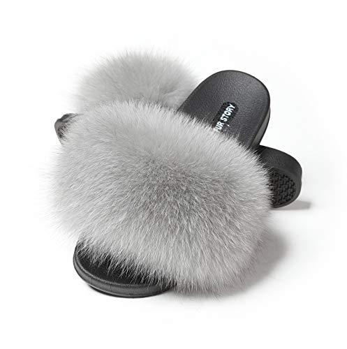 Fox Fur - Fur Story Women's Fox Fur Slides Furry Slide Sandal Fur Slippers(10, Gray Fur)