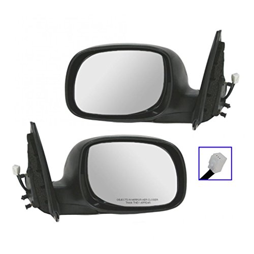 Power Side Mirror Chrome & Black LH/RH Pair Set for Tundra Double Cab Sequoia