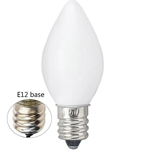 (Goothy Indoor & Outdoor String Light C7 Ceramic Christmas Replacement Bulbs,5 Watt-White)