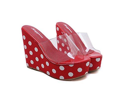 Wedge 40 de transparente Tamaño Slippers 4 gruesa cm Sandalias Mujeres Pump Shoes Mulas 34 de zapatos Open 12cm lunares vestir Rojo Heel plataforma Court Fashion Colormatch Toe Casual Eu wpqIHZ
