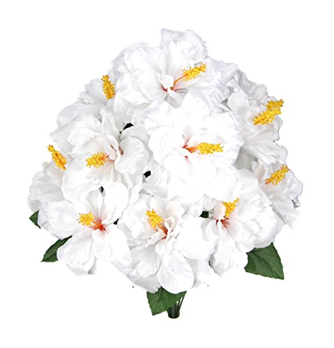 Admired By Nature GPB5325-WHITE 12 Stems Hibiscus Flowers